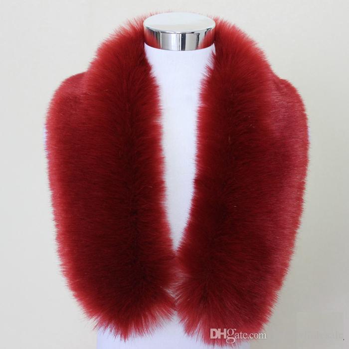 Hot Fashion Unisex Faux Fuchspelzkragen Schal Schal Hals Männer Frauen Wrap Stola Schals Faux Waschbärpelz Winterkragen