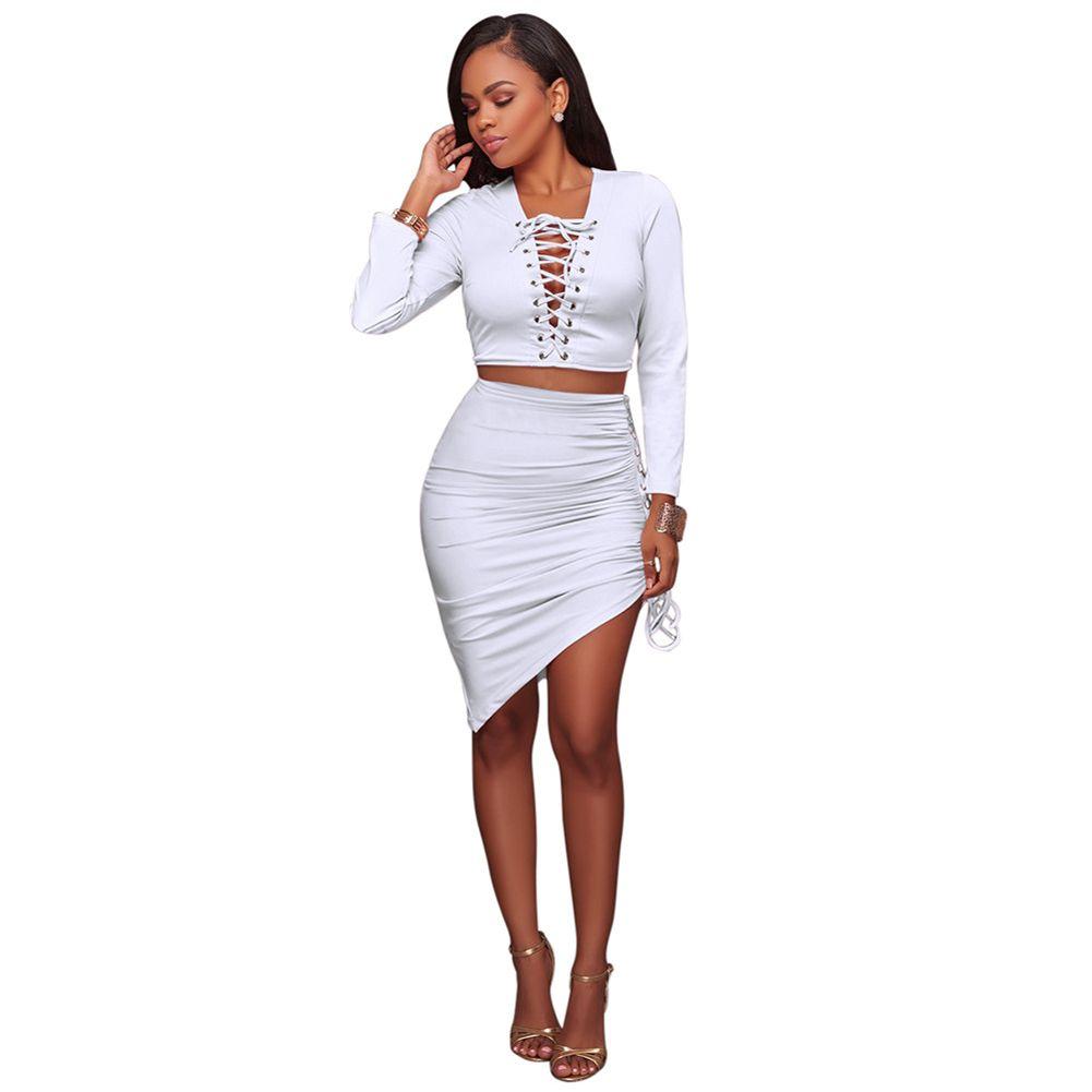 New Fahion Sexy Women Two-piece Set Deep V Neck Crop Top Long Sleeve ... 32a5045a6850