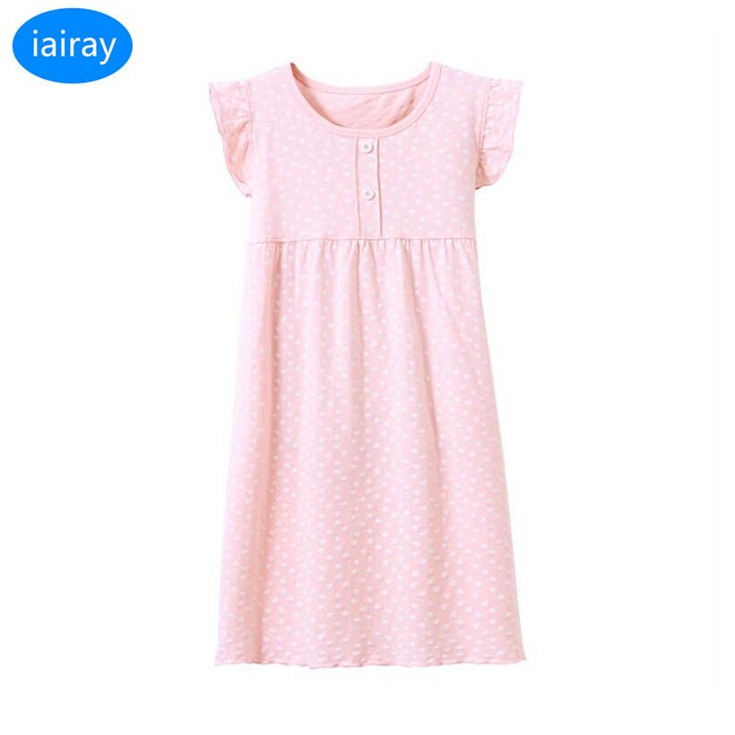 Iairay Pink Cotton Nightgowns For Girls Nightdress Girl Sleep Dress ...