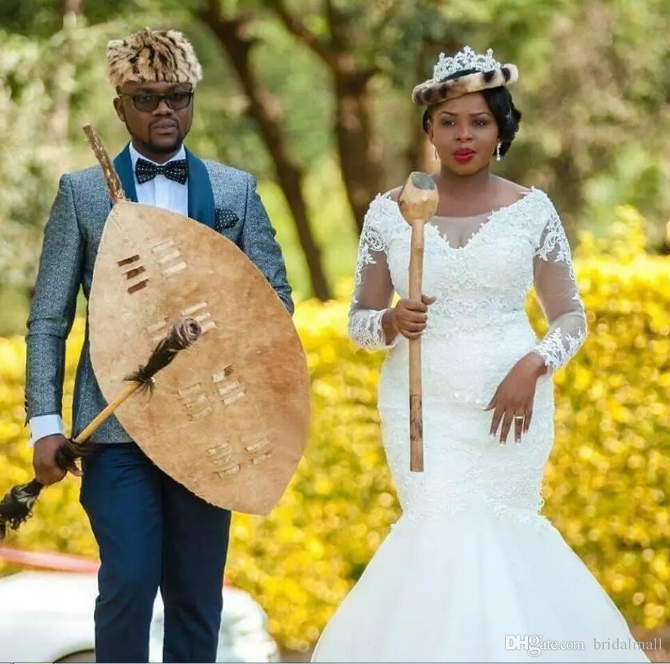 Plus Size Lace Mermaid Brautkleider Sheer Long Sleeves South African Brautkleider Tüll Sweep Zug Hochzeit Vestidos de novia Nach Maß