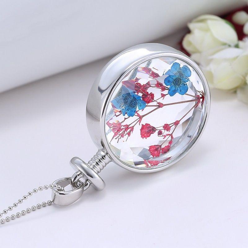 أنيقة شفافة الكريستال العائمة المجففة الأحمر الأزرق زهرة نبات قلادة سحر المنجد قلادة للنساء سترة سلسلة المجوهرات