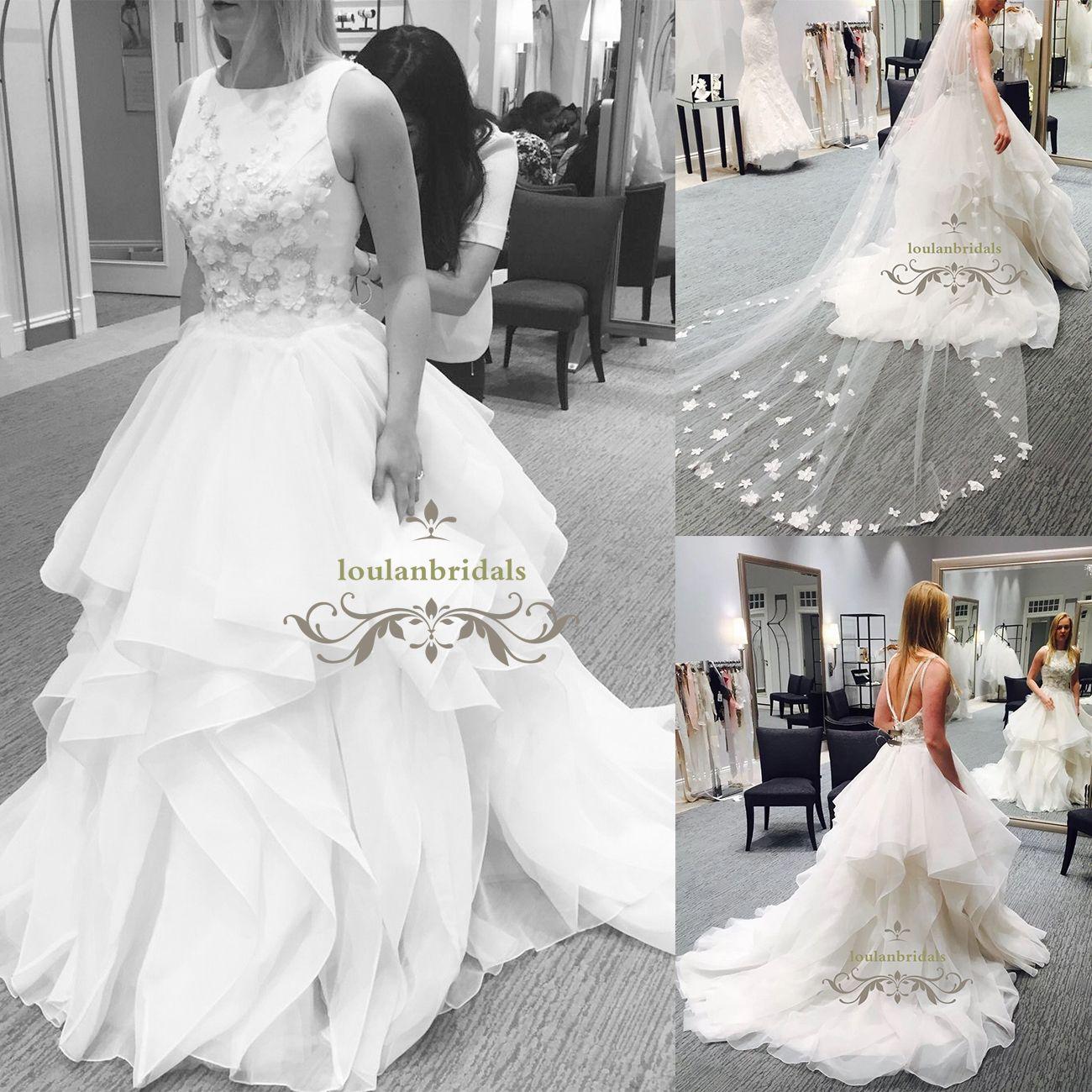 Low Back Cascading Skirt Chapel Train Wedding Dress Organza Boat ...