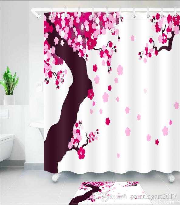 2019 3D Cherry Blossoms Shower Curtain Spring Flowers Art Print For Bathroom Waterproof And Fabric Romantic Curtains Floor Mats Sets From