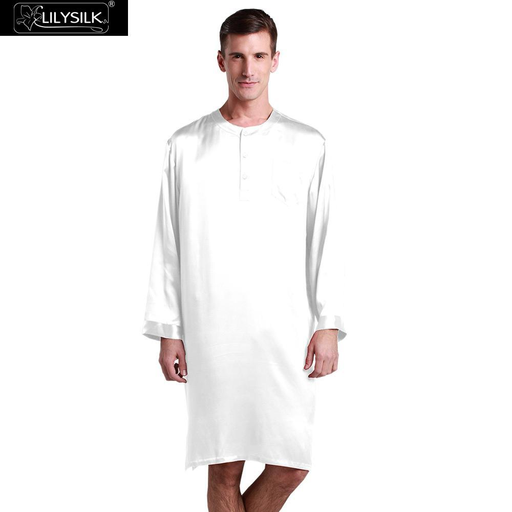 f6b3f37d59 2019 Lilysilk 100% Pure Chinese Silk Robe Male Mens Bathrobe Kimono Sleep 22  Momme Long Sleeve Luxurious Nightshirt Sleepwear Summer From Primali