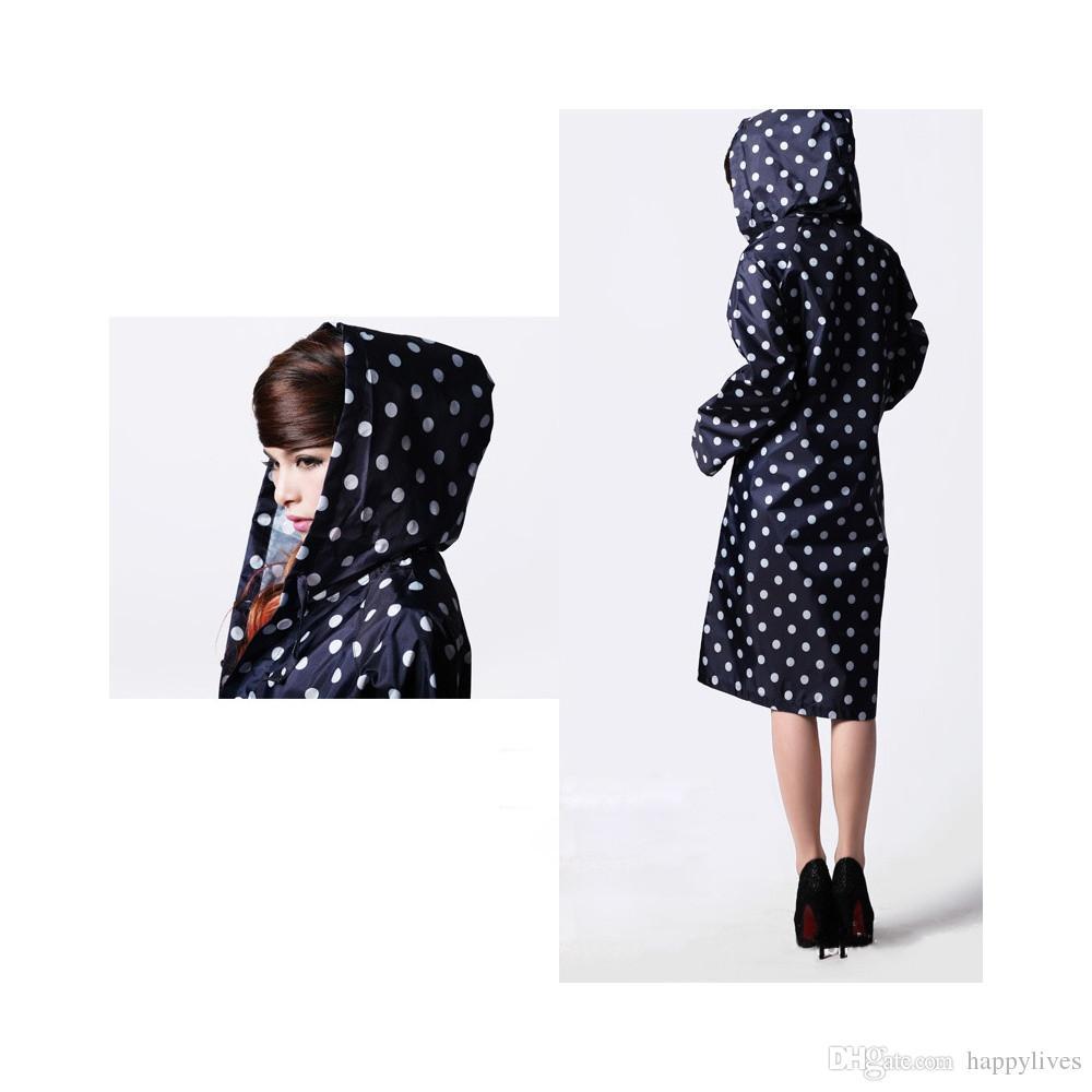Dot Girl Lady Hooded Raincoat Women Outdoor Travel Waterproof Riding Cloth Rain coat for Women Poncho Long Rainwear rain jacket