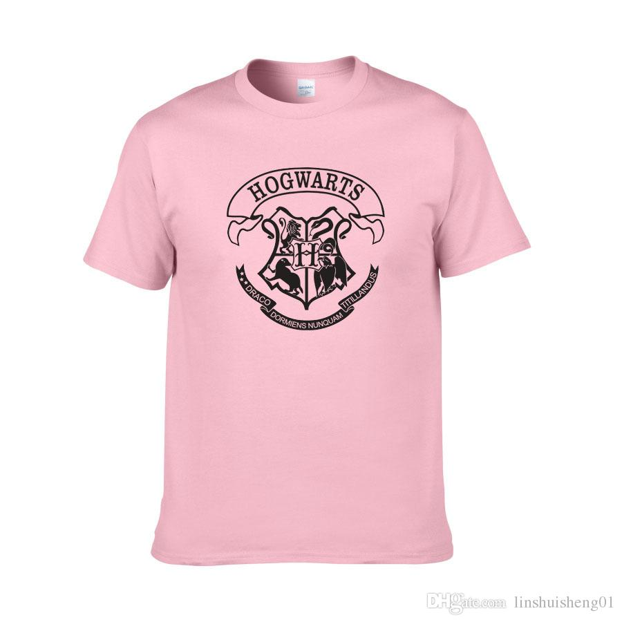 Venta caliente camiseta de los hombres harry potter hogwarts imprimir camisas diseño único harry potter traje fresco escuela mágica hogwarts camiseta