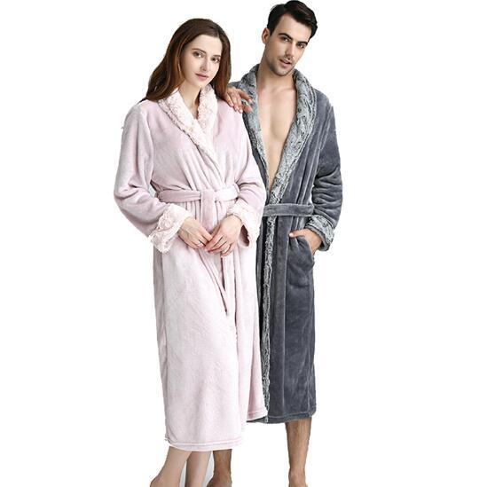 Lovers Plus Size Hooded Extra Long Flannel Warm Bathrobe Men Women ...