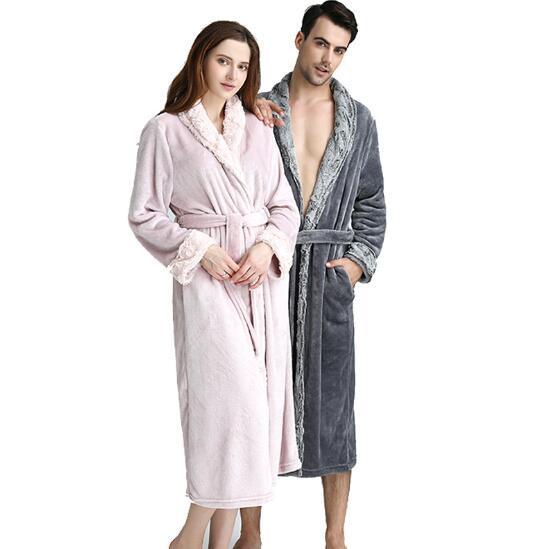 Lovers Plus Size Hooded Extra Long Flannel Warm Bathrobe Men Women ... beaf3a57d