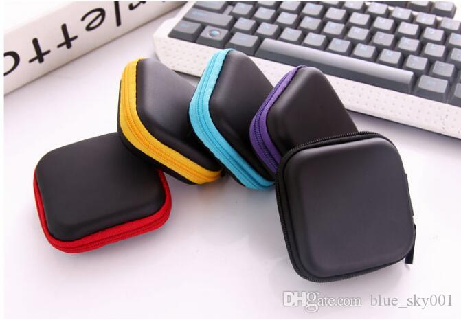 Rectangular mobile phone data cable charger storage box zipper box travel organizer gadgets jewelry box avoid pressure
