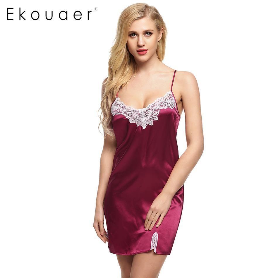 df16c770ee Compre Ekouaer Mujeres Sexy Camisón De Satén De Encaje Empalme Ropa De  Dormir Correa De Espagueti Vestido De Noche De Verano Casual Mujer Ropa Para  El Hogar ...