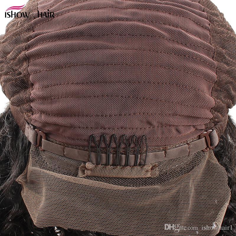 Pelucas rizadas brasileñas pelucas llenas del cordón del pelo humano para las mujeres negras Densidad del 180% con el pelo del bebé pelucas delanteras del cordón Productos de Ishow
