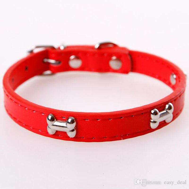 Animal de Estimação Cães Pequenos Osso Fivela de Doces Cor PU Leather Collar Cat Pescoço Cinta Cães Acessórios Suprimentos ZA6111