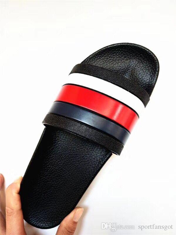 2018 Black Rubber Slide Sandal Slippers Green Red White Stripe Fashion Design Men Women with Box Classic Ladies Summer Flip Flops