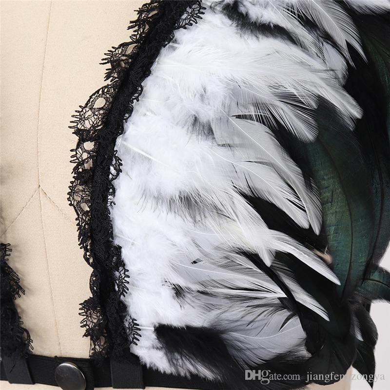 Mode Plume Épaulettes Kölelik Harnais en kafes soutien-gorge steampunk Üstler İç çamaşırı Halloween Burlesque Gothique Ailes D'ange