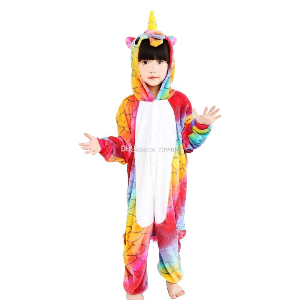 Flannel Children Fish Scale Unicorn Cosplay Costume Onesie Pajamas ...
