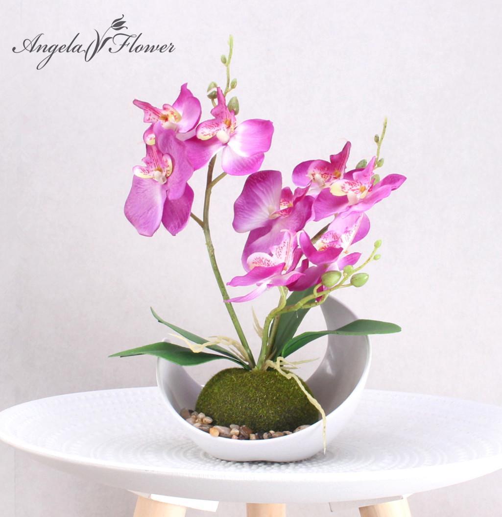 Satın Al 3 şube Yapay Orkide çiçek Saksı Bitki Ipek Phalaenopsis