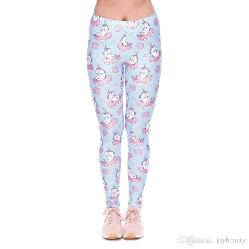 cd0c44ed1e63c 2019 Women Leggings Unicorn Donuts 3D Graphic Full Print Girl Skinny  Stretchy Yoga Wear Pants Gym Fitness Pencil Fit Lady Soft Trousers YX52109  From ...