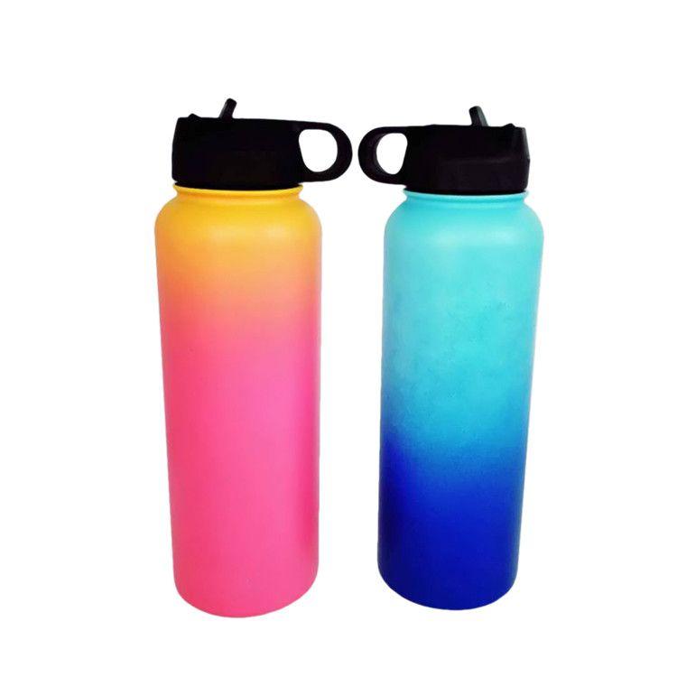 Botella de agua al aire libre 40 oz Deporte aislado botella de agua de acero inoxidable Boca ancha Ombre Botella de agua Filp tapas con paja DHL FEDE