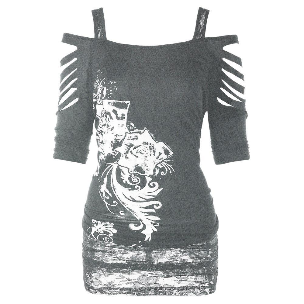 Cendré Harajuku Shirts Hauts Feitong Casual Shirt Streetwear T Femmes Déchiré Femme Vintage Rock Gothique 2018 Yfgyb76