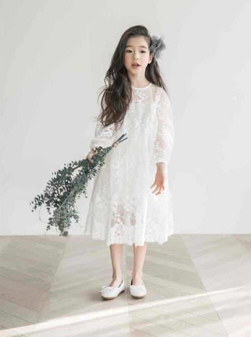 Nouvelle Enfant Longues Robe De Princesse Vêtements Printemps Dentelle Fille Blanche D'été Manches 2018 Enfants rdeCBox