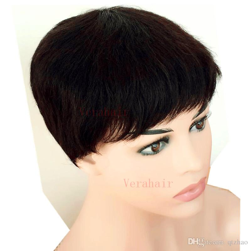 Chic Short Pixie Cut Layered Menschliches brasilianisches Haar Bob-Perücke African American Virgin Glueless Perücke Keine Spitze-Perücke für schwarze Frauen Hot Sale