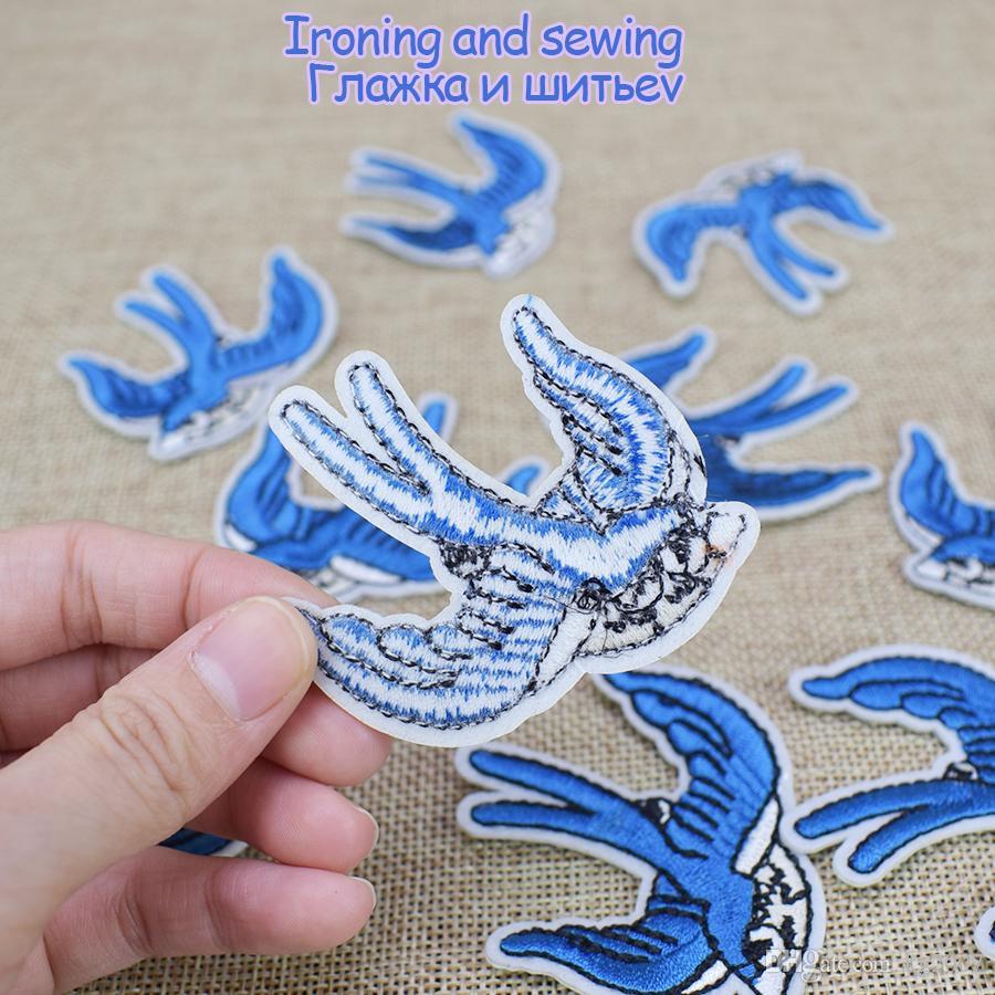 Swallow Patch ricamate abbigliamento Iron on Transfer Patch applique borse da sera Cucire su Badge ricamo