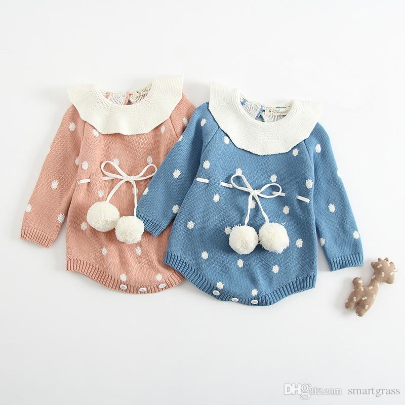 537dc2983b6 Cute Baby Girl Rompers Ruffled Knit Sweater Long Sleeve Fashio Design  Rompers for Girls 18080602 Baby Girl Rompers Ruffled Knit Sweater Rompers  for Girls ...