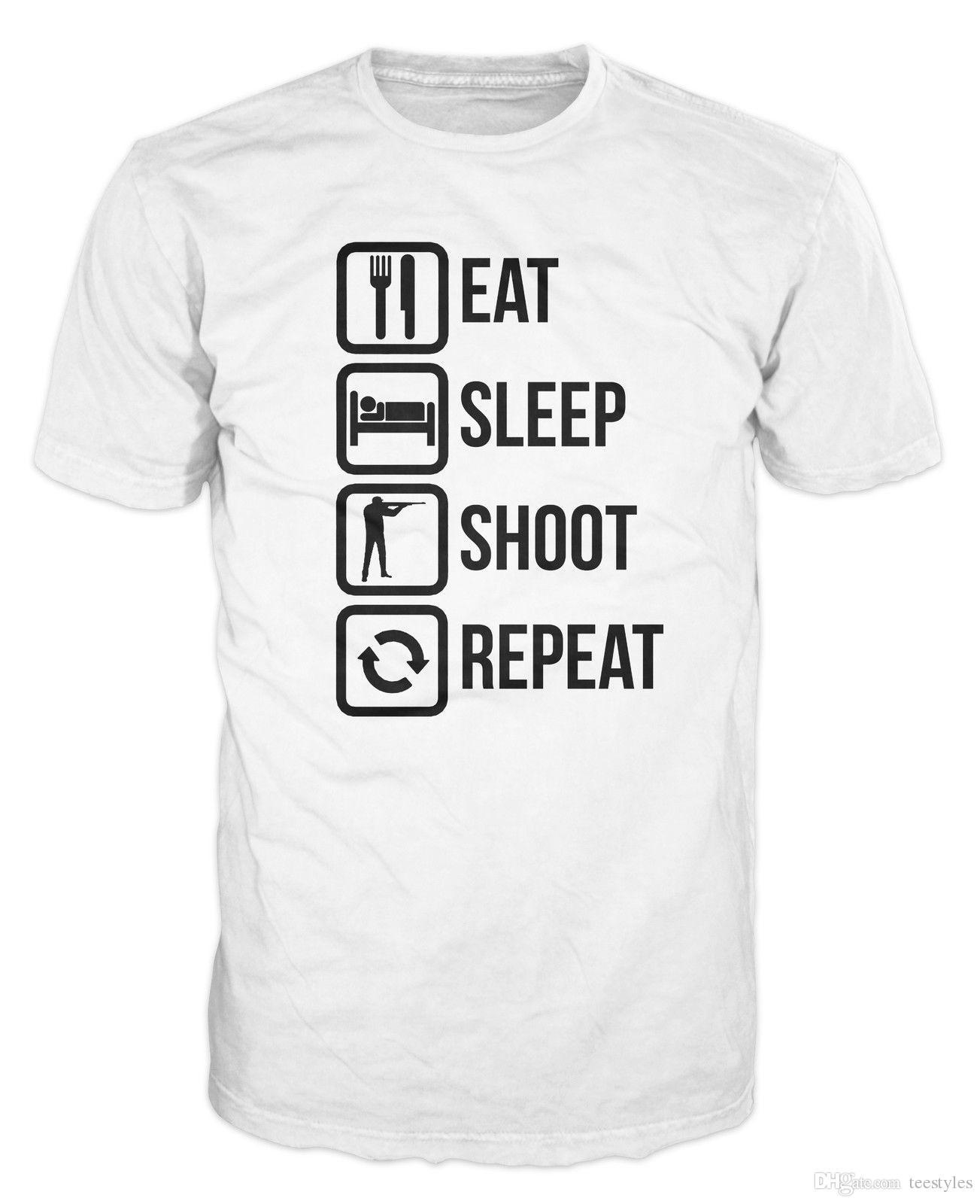 Eat sleep shoot repeat funny clay shooting sport olympics t shirt t shirt men mans designer custom short sleeve 3xl family camiseta
