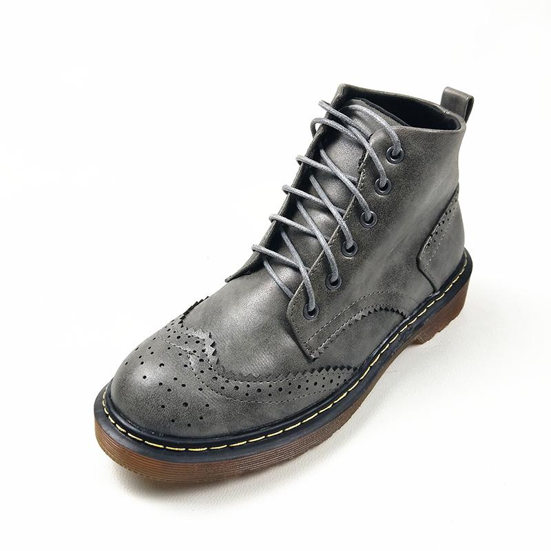 e4337d39e13e 2018 Spring Fall Women OU Leather Boots Round Toe Lace Up Oxford Ankle Boot  Ladies Martin Motorcycle Boots Casual Shoes Women Size 34 43 Black Combat  Boots ...