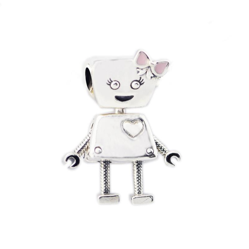 7d23b5355 Wholesale Bow Robot Bella Bot Charm 925 Sterling Silver With Pink Enamel  Fits Bracelet Charm For DIY Jewelry Making Gift Bedels S18101607 Flower  Pendant ...