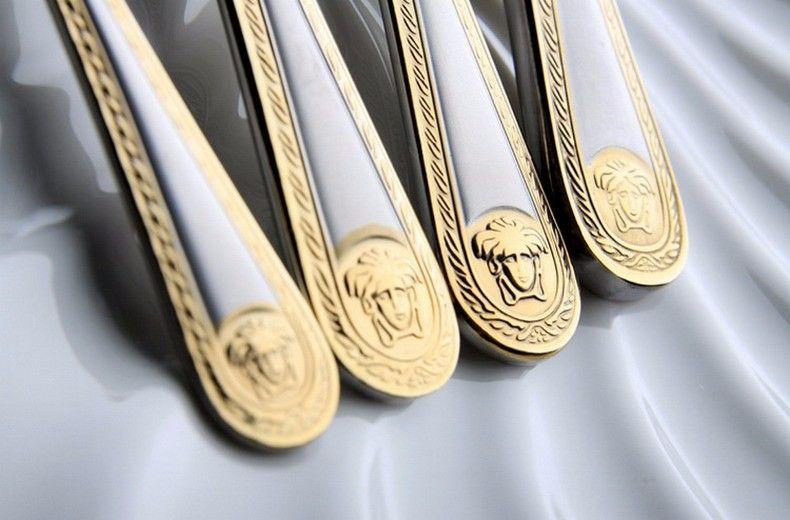 / set Medusa Head Gold posate in acciaio inox posate Set da tavola stoviglie coltello cucchiaio forchetta nuovo trasporto libero