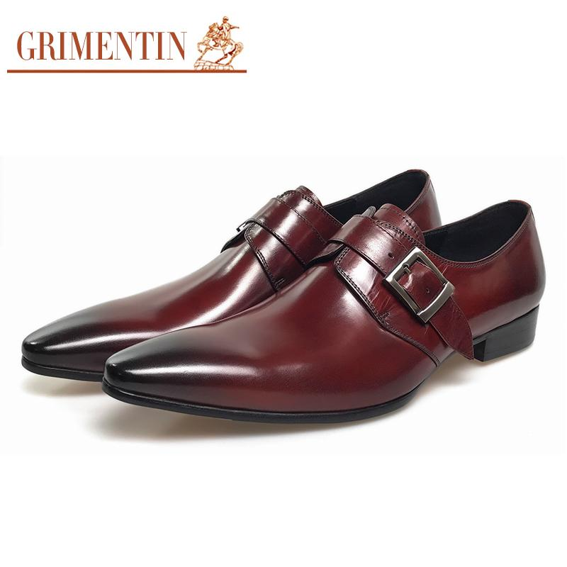 GRIMENTIN wedding genuine leather mens shoes sales black brown fashion Italian male shoes
