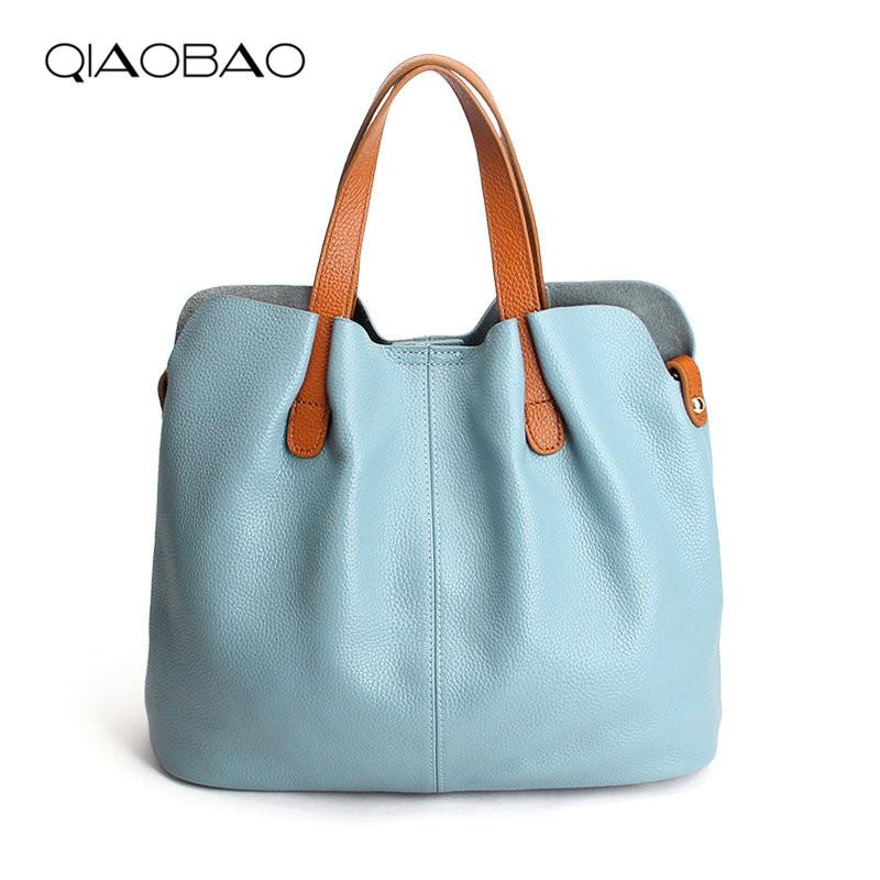 QIAOBAO Summer Women Handbag Genuine Leather Tote Shoulder Bag Bucket  Ladies Purse Casual Shopping Bag Satchel Capacity Totes Satchel Messenger  Bags From ... 80b96e7341159