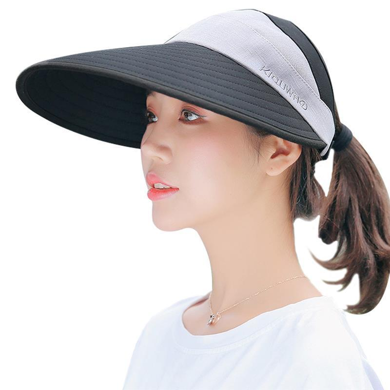 Vbiger Women Sun Cap Wide Brim Sun Hat Foldable Summer Hat Stylish Beach  With Chin Strap Empty Top Design Floppy Hat Kangol Hats From Amoywatches b8727183c546
