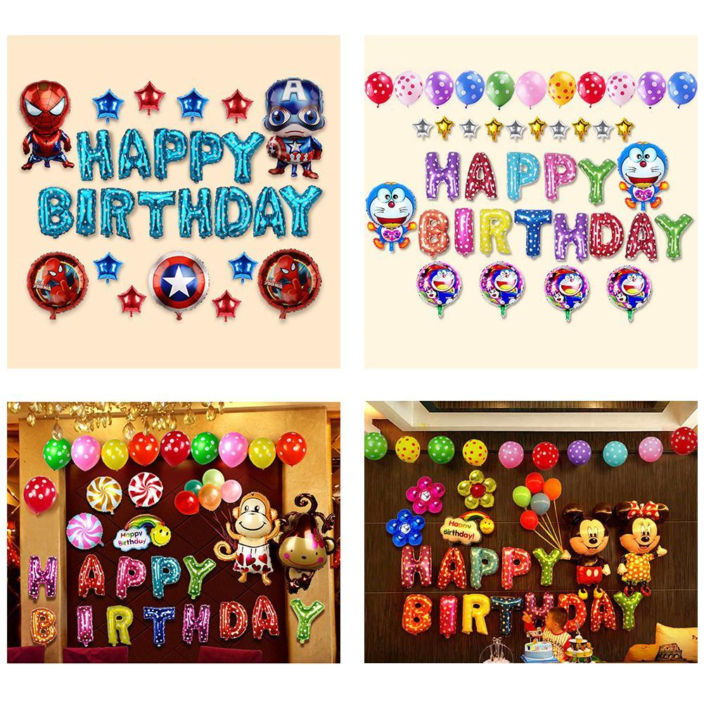 BabyS First Birthday Balloon Set 16 Inch Aluminum Film Background Wall Decorative With Air Pump Numbered Helium Balloons