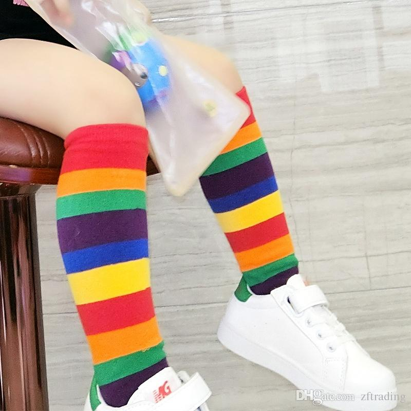5da8a72020a Baby Kids Boy Girl cotton Socks Knee High Rainbow Striped Tube Socks Warm Socks  children  s sock