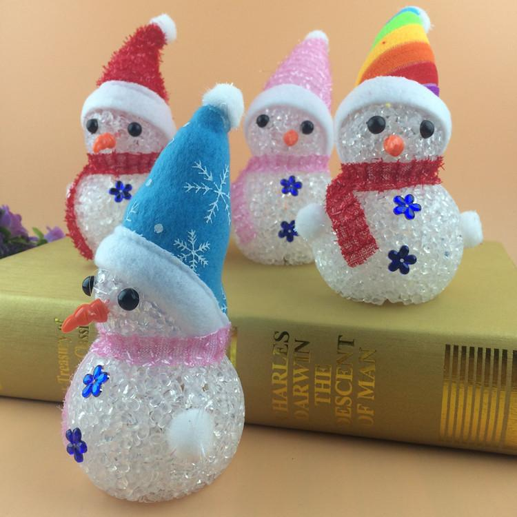 LED seven color light Snowman Spring Festival Christmas decorating crystal boy birthday party atmosphere goods wholesale