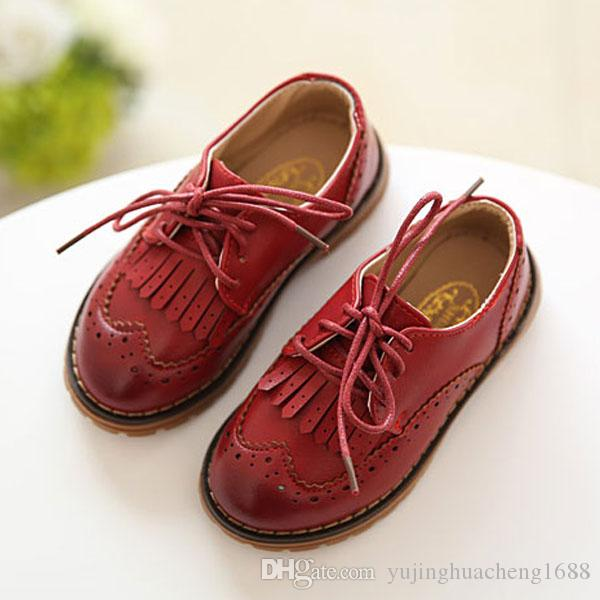 2018 Spring Autumn Children Leather Shoes Classic Vintage Tassel Boys Girls Oxford Shoes Kids PU Leather Lace-Up Shoes