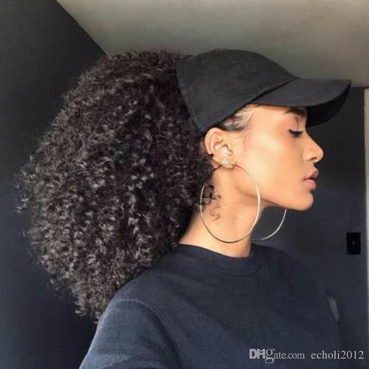 140g Human Hair Kinky Ponytails Hairpieces For American Black Women Curly Ponytail Drawstring Clip On Pony Tail 4 Colors Available