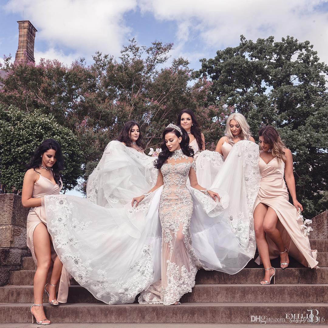 Lüks Rhinestone Kristal Gelinlik Yüksek Boyun Boncuk Aplike Uzun Kollu Mermaid Gelin Elbise Muhteşem Dubai Gelinlik Overskirt