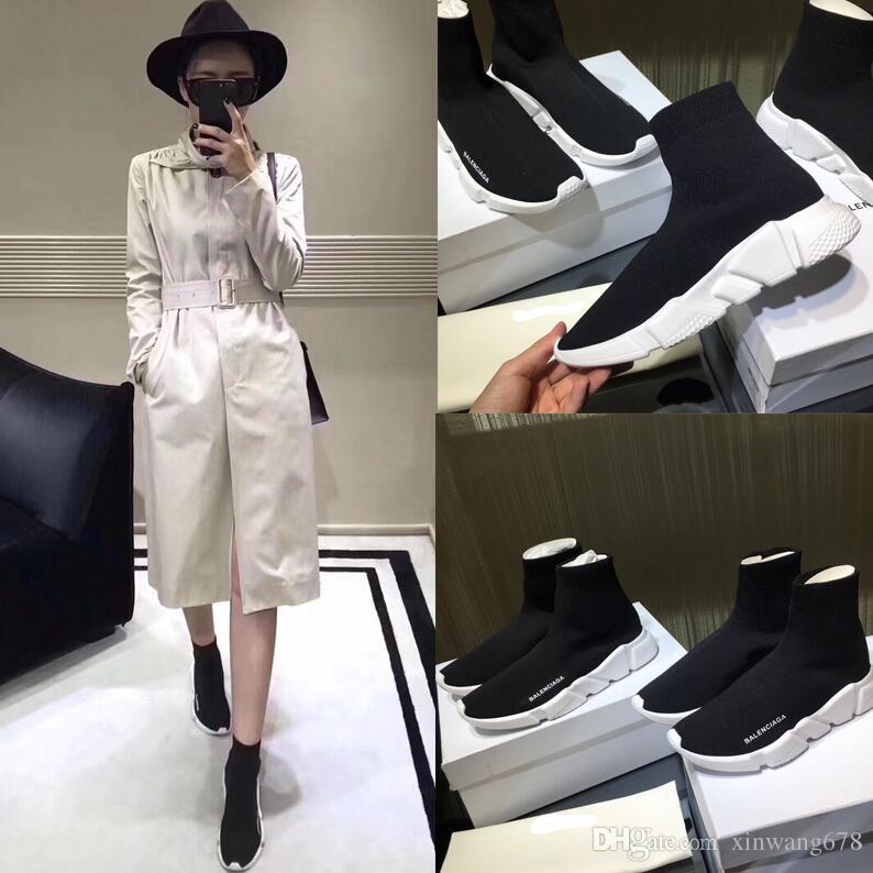 info for 919d7 25eca Acquista Paris Designer Speed Trainer Stretch Knit Mid Black White Fashion  Top Sneakers Calzini Traspiranti Scarpe Uomo E Donna Scarpe Casual A  24.23  Dal ...