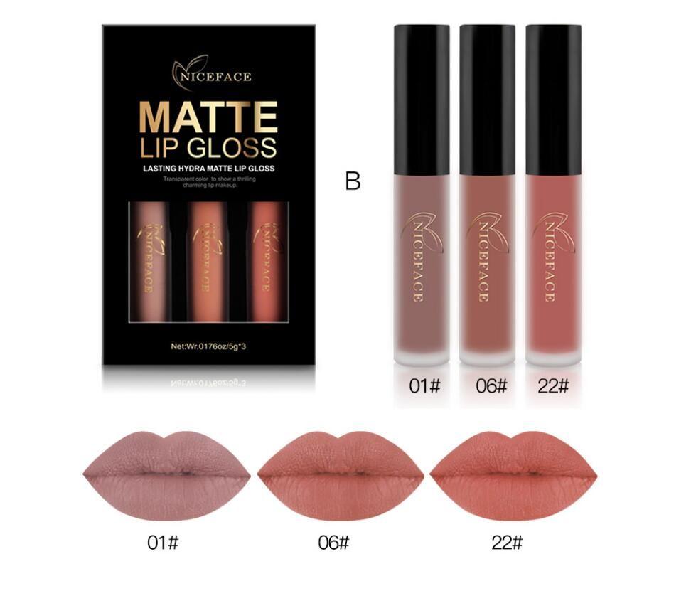 New NICEFACE Brand Liquid Lipsticks Make Up Pigments Sexy Red Purple Velvet Matte Lip Gloss Makeup Kit