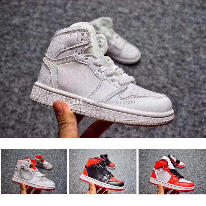2018 Kids 1s Basketball Shoes Children Boy Girl 1 Bred Black Red ... baac080f4f