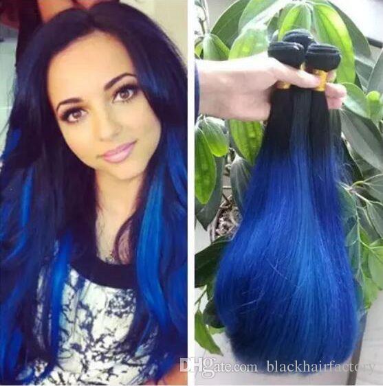1b Blue Ombre Straight Brazilian Virgin Hair Weave Silk Straight