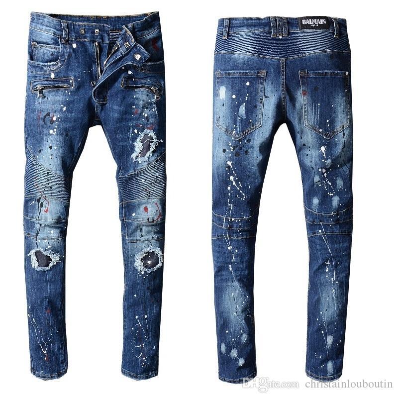 Verano Hombre Pantalones Retro Algodón Casual Dril Marca De Del Agujero Diseñador Denim Vaqueros La Rodilla Compre Para Hombres Longitud De La Balmain Jean Fq5xY