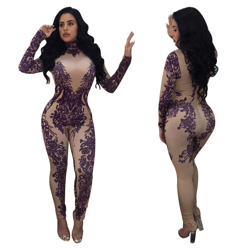 9be6422a00 2019 Autumn Winter Fashion Printed Bodysuit Package Hip Long Sleeved  Jumpsuit Casual Women Bodysuit Rompers Sexy Club Wear Bodycon Pants Suits  From Fulary b ...
