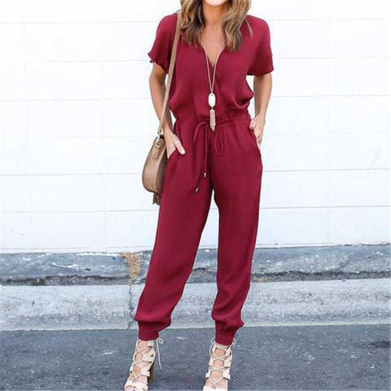 Best Summer Jumpsuits Women 2018 Rompers Sexy V Neck Bandage Pleated Waist Pocket Womens ...