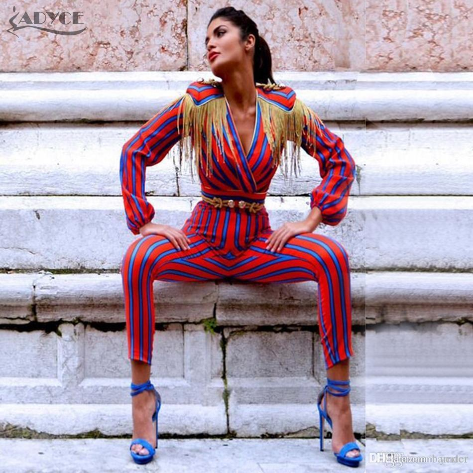 a2c4b307a59 2019 Adyce 2018 New Fashion Runway Jumpsuits Women Long Sleeve Red Blue  Striped Tassel Bodysuit Bodycon Slim Celebrity Party Jumpsuit From Bamder