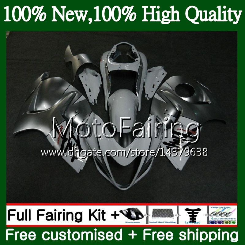 SUZUKI Hayabusa GSXR1300 için gövde Simli beyaz 08 09 10 11 12 13 14 15 19MF5 GSX R1300 GSXR 1300 2008 2009 2010 2011 Fairing Karoser