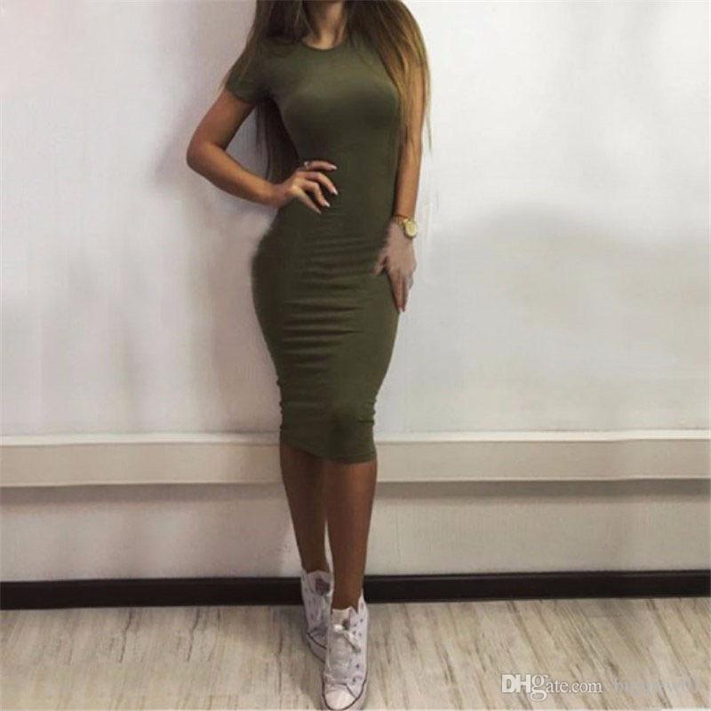 2018 Summer Women Dressses Bobycon Scoop Neck Sheath Column Batwinq Dolman Sleeve Knee-Length Short Sleeve Solid Sexy and Club Natural